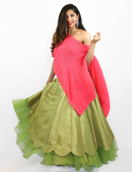 Rent Green Brocade Lehenga With Pink Asymmetrical Top
