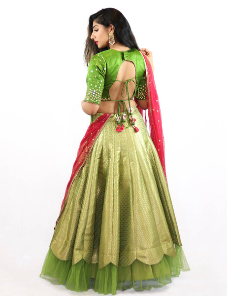 Rent Green Brocade Lehenga & Blouse With Magenta Dupatta