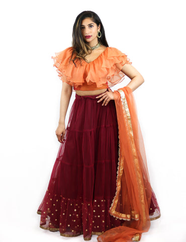 Rent Burgundy Lehenga With Orange Ruffled Blouse & Dupatta