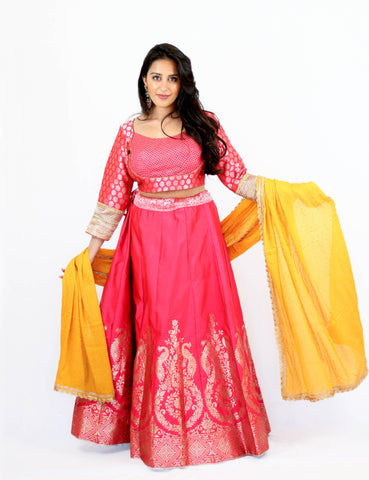 Rent Pink Brocade Lehenga & Embroidered Blouse With Yellow Dupatta