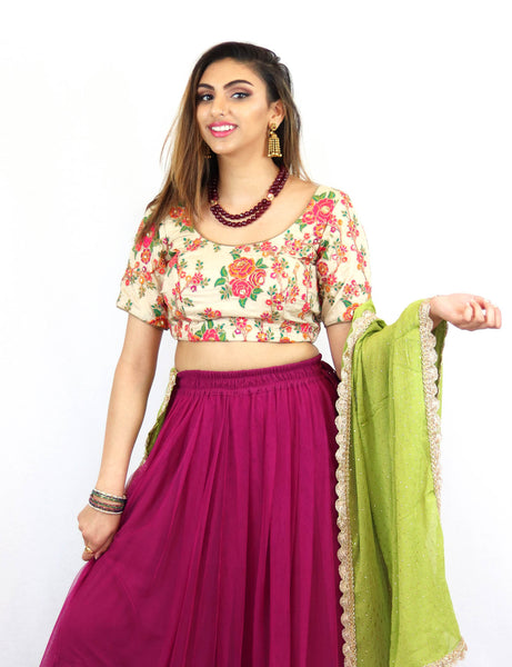 Rent Pink Lehenga With Embroidered Blouse & Green Dupatta