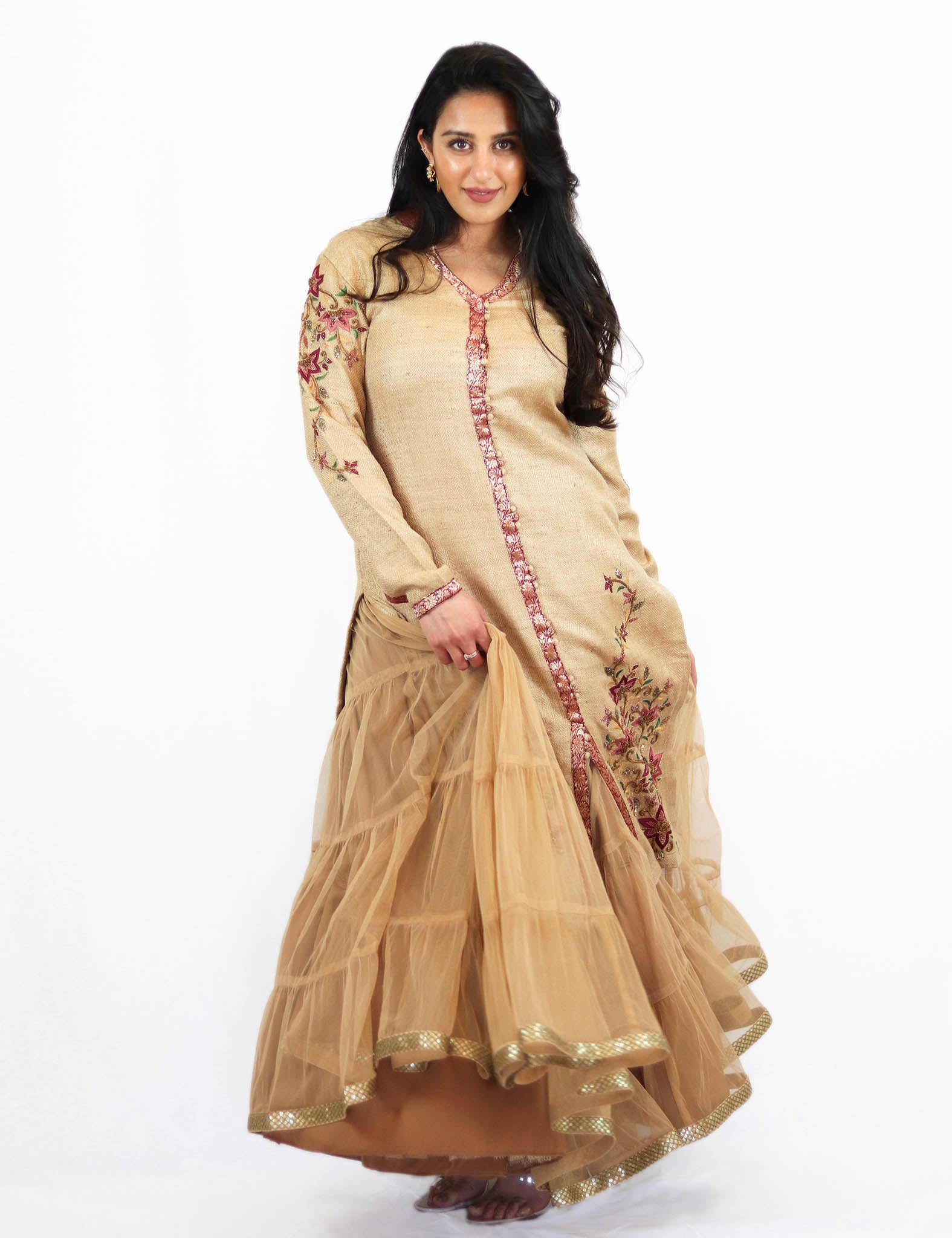 Rent Golden Sherwani with Net Lehenga