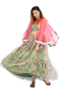 Rent Green Floral Lehenga & Blouse With Pink Cape