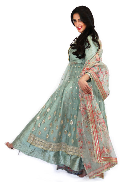Rent Pistachio Jacket & Lehenga With Floral Dupatta