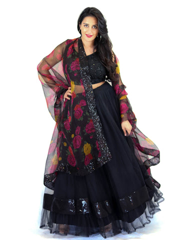 Rent Black Lehenga & Embroidered Blouse With Floral Dupatta