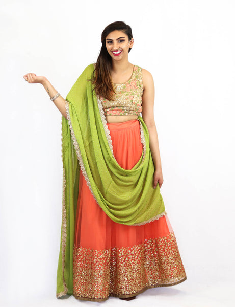 Rent Embroidered Blouse With Peach Lehenga & Green Dupatta