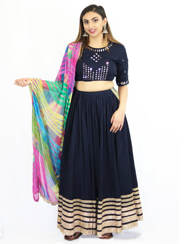 Rent Navy Blue Lehenga Skirt & Blouse with Colorful Dupatta