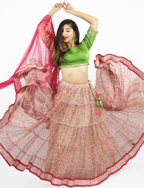 Rent Floral Lehenga with Green Blouse & Punch Pink Dupatta