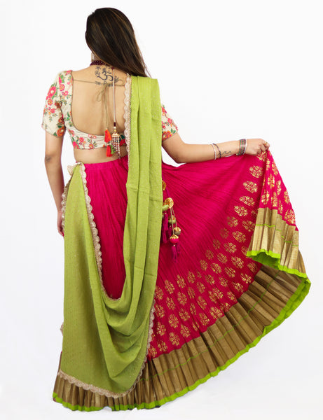 Rent Pink Pleated Lehenga with Embroidered blouse and Lime Green Dupatta