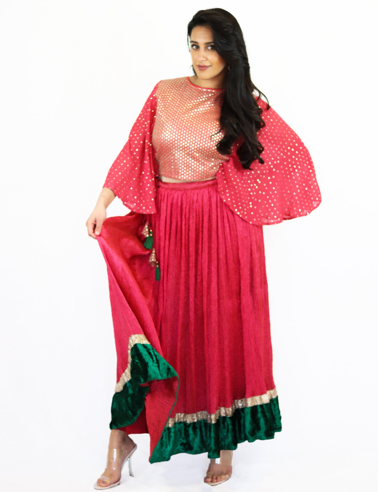 Rent Red Sequence Top with Gathered Lehenga