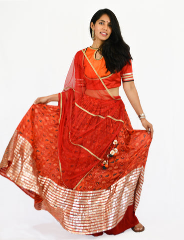 Rent Red Printed Lehenga Skirt with Matching Blouse & Dupatta