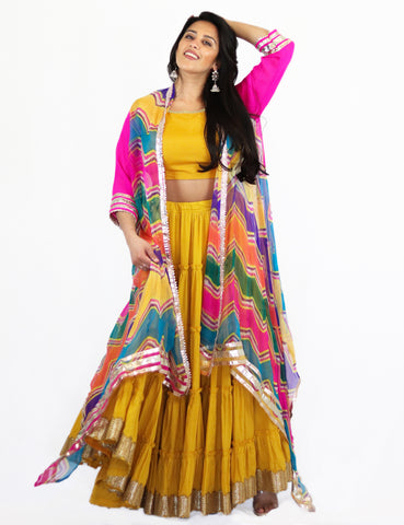 Rent Yellow Tiered Lehenga & Crop Top with Colorful Jacket