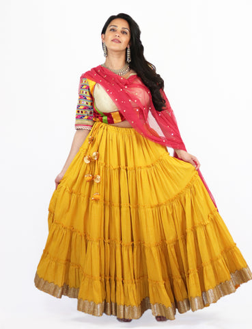 Rent Yellow Tiered Lehenga with Embroidered Blouse & Punch Pink Dupatta