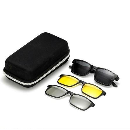 MAGNETIC CLIP ON SUNGLASSES - POLARIZED CLIP ON SUNGLASSES FOR GLASSES - 5 IN 1 SWAPPABLE SUNGLASSES - Secret Lake Store