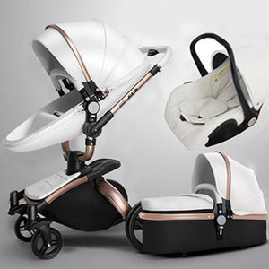 Aulon Baby Stroller 3 in 1 With Car Seat High View Pram For Newborns Folding 360 Degree Rotation - Secret Lake Store