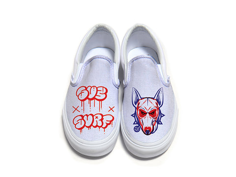 SUBSURF® Head Fuzz Logo and Dog Slip On Vans