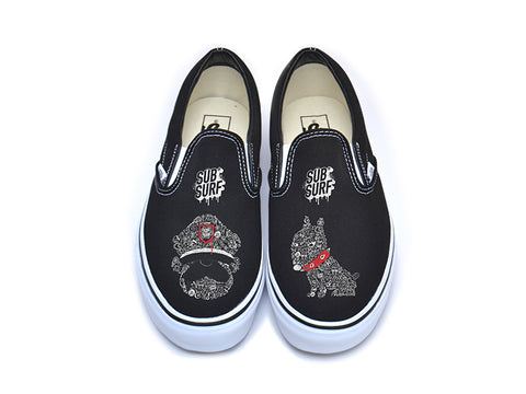 SUBSURF® Black Book- Guard and Dog Slip On Vans