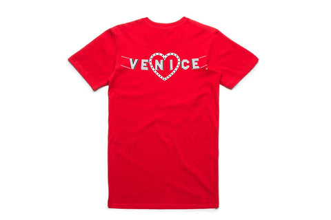 Venice Sign Collection - Heart Tee (Red with White Sign)