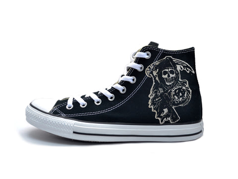 Sons Of Anarchy B&W Reaper Chucks - CLEARANCE