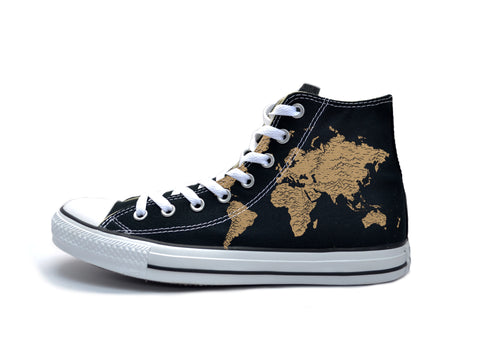 Vintage Map (Tan) Chucks