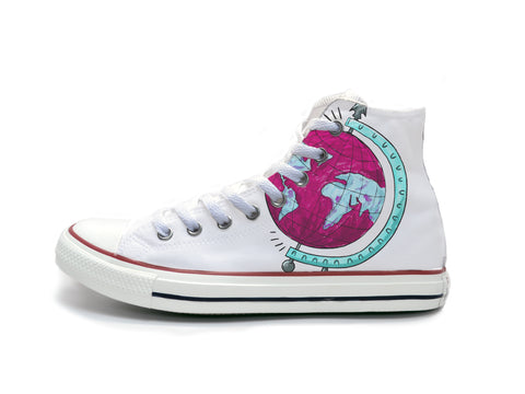 Globe Sketch (Pink & Blue) Chucks