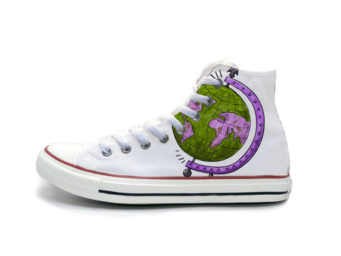 Globe Sketch (Purple & Green) Chucks