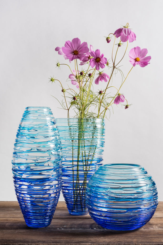 Blown Glass Nesting Collection- Cobalt/ Teal