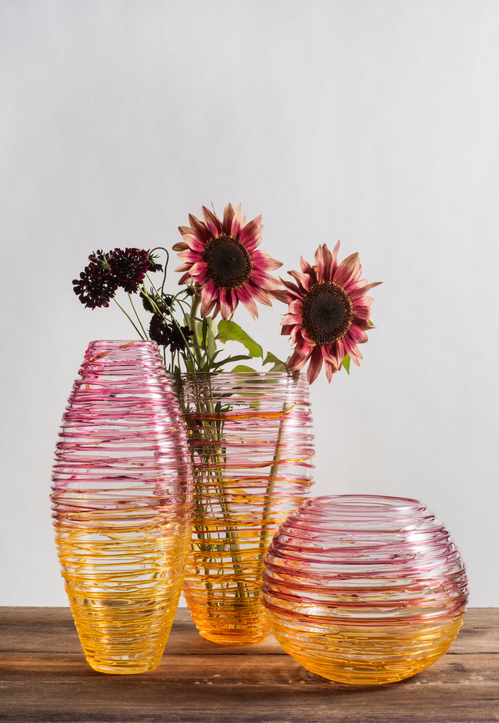 Blown Glass Nesting Collection - Saffron/Pink