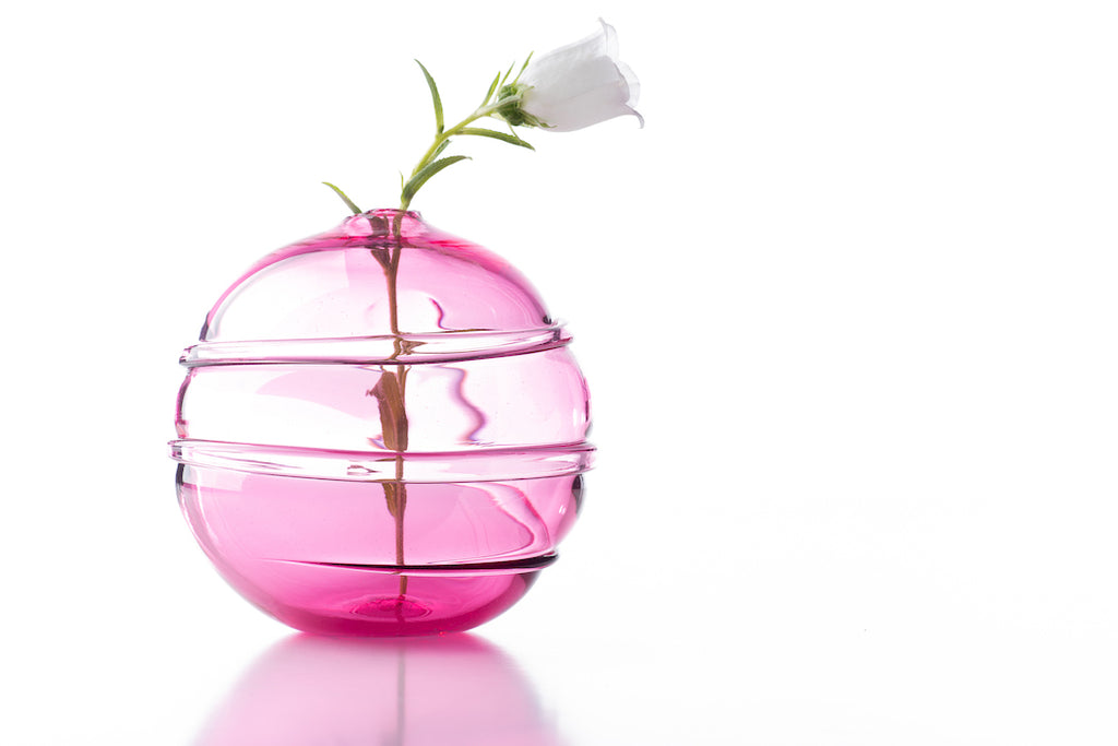 Hand Blown Glass, Pink Water Orb