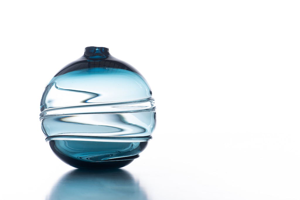 Hand Blown Glass, Steel Blue Water Orb