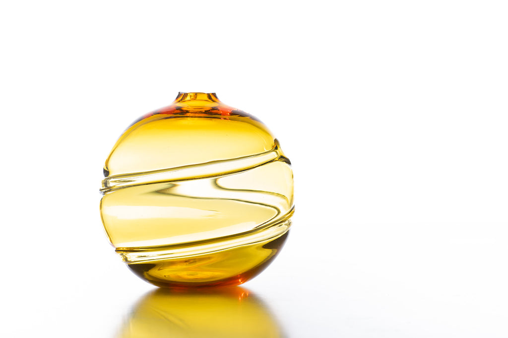 Hand Blown Glass, Gold Water Orb
