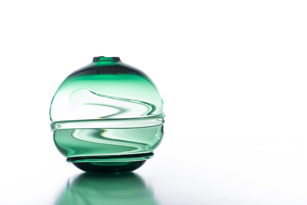 Hand Blown Glass, Green Water Orb