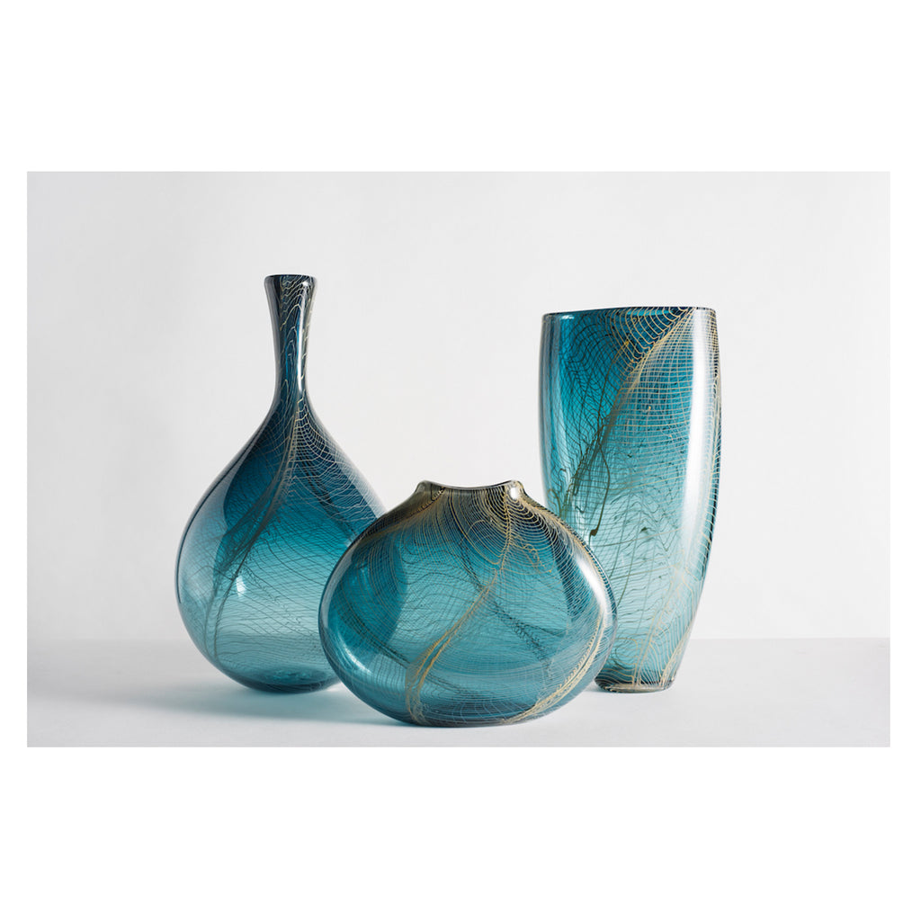 Hand Blown Glass Vase, Steel Blue and Tan Collection