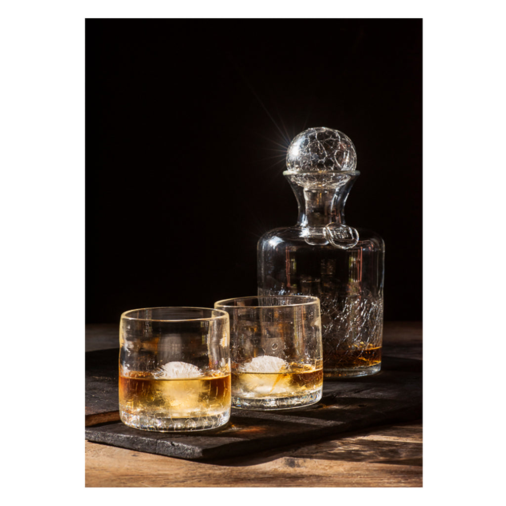 Hand blown glass Decanter and Rocks Glass Set