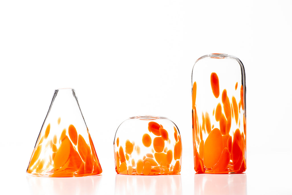 Hand Blown Glass, Speckled Bud Vase