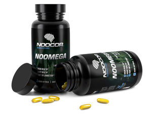 Noocor Noomega 30ct bottles with one laying down and capsules coming out of it