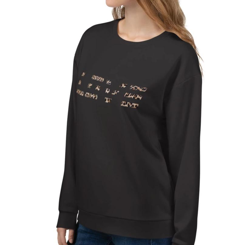 Leopard Pattern Love Sweatshirt 25ITWC on David Krug Online Store