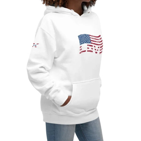 Stars and Stripes Love Flag Hoodie - white 90ITWC on David Krug Online Store