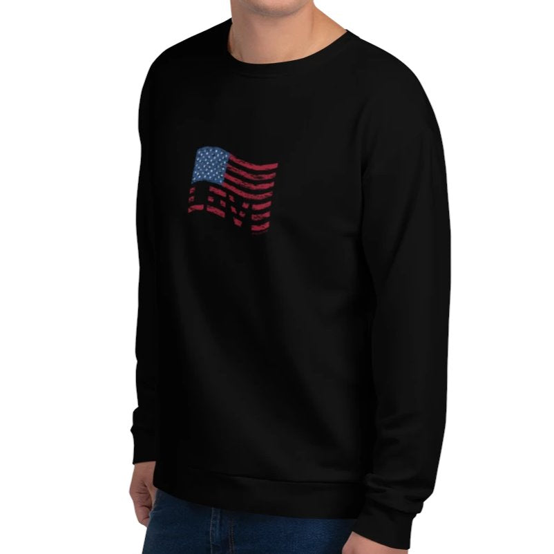 Stars & Stripes Love Flag Sweatshirt on David Krug Online Store