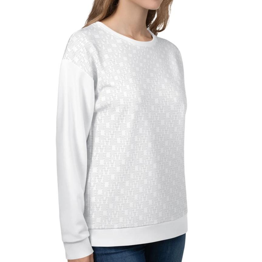 White Love Pattern Sweatshirt on David Krug Online Store