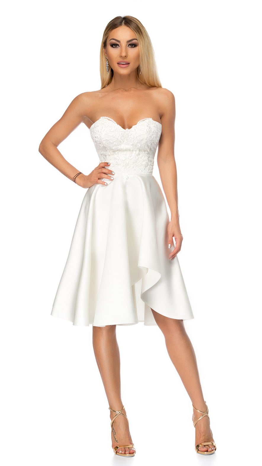 99f6da0718942 Load image into Gallery viewer, White strapless skater dress ...