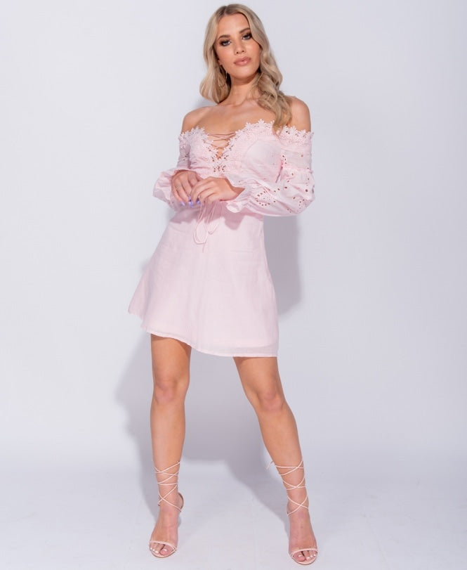 Pink Broderie Lace Puff Sleeve Lace Front Mini Dress