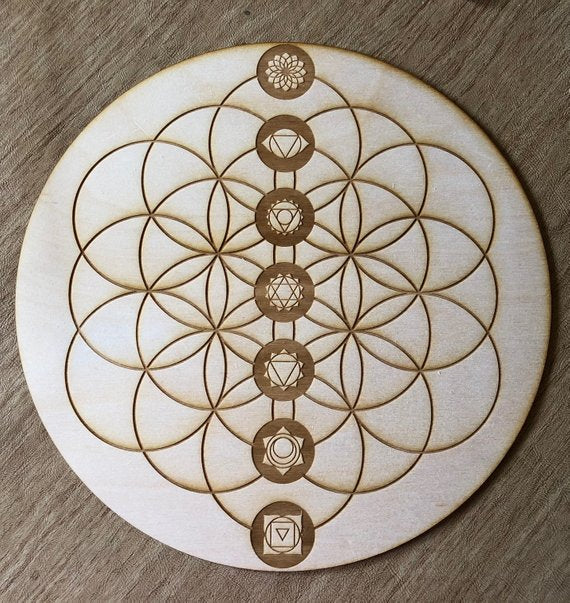 Chakra Flower of Life Crystal Grid