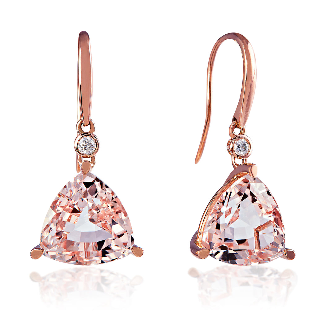 Morganite Trillion Earrings 8.88cts