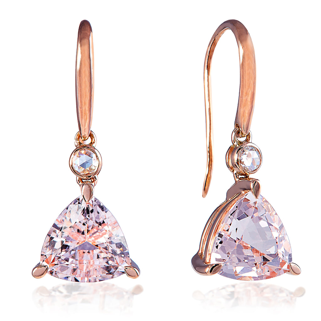 Morganite Trillion Earrings 3.66cts