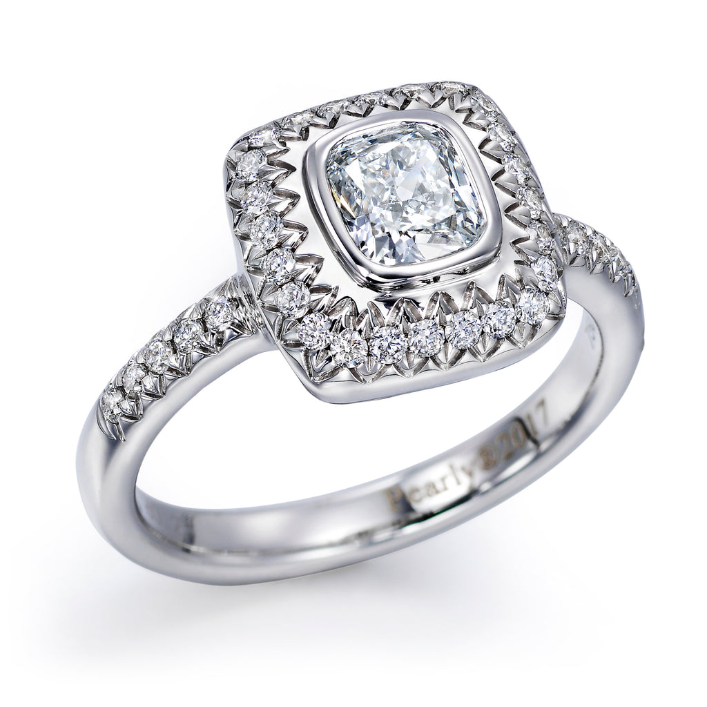 Diamond Engagement Ring with Hand-Carving
