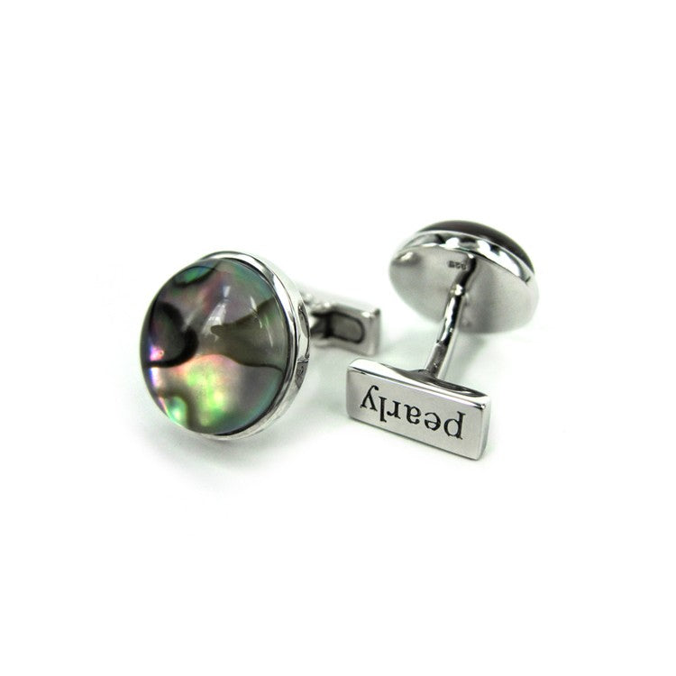 Abalone Cabochon Rock Crystal Doublet Cufflinks