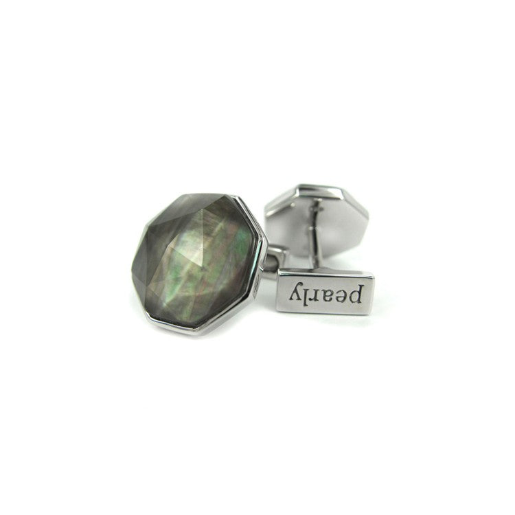 Black Mother of Pearl Rock Crystal Doublet Cufflinks