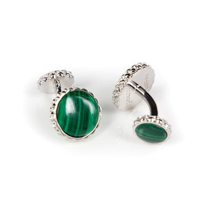 Deco Keystone Cufflinks - Round Malachite