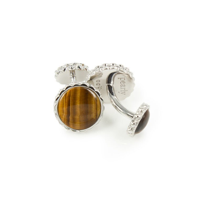 Deco Keystone Cufflinks - Round Tiger Eye